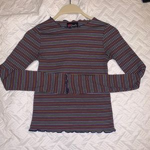 long sleeve striped tight-fitted shirt